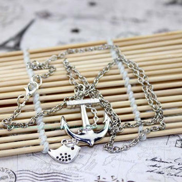 Ancient silver anchor and bird jewelry necklace, necklace of water army and air force