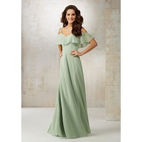 Morilee Bridesmaids 21509 Off the Shoulder Chiffon Bridesmaids Dress