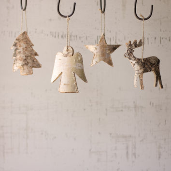 Set of 4 Rustic Wood Christmas Ornaments- Tree Star Angel Deer