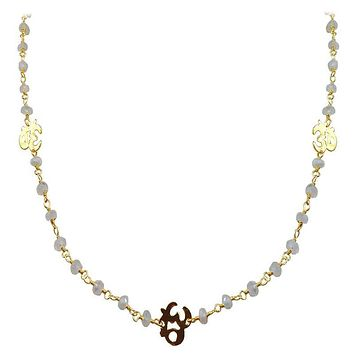 "CHG-197-RM-OM-18"" 18K Gold Overlay Necklace With Rainbow Moonstone"