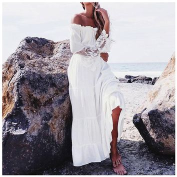 Women New Sexy Lace Patchwork Maxi Long Dress Slash Neck Off Shoulder Flare Sleeve Fashion Beach Party White Dresses Robe(White)
