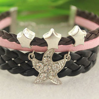 lovely stars beads bracelet--starfish pendant,retro silver charm,black braid leather