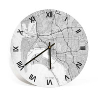 San Diego, California, Retro Map Art Wall Clock