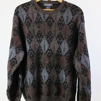 SALE - Vintage 90s Brown Black Diamond Print Woodland Sweater - Mens Size XL