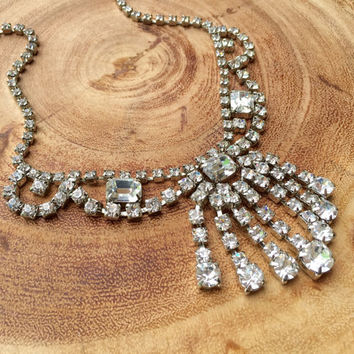 Vintage Bridal Necklace Rhinestone Statement Necklace 1950s Bridal Jewelry Waterfall Bib Choker Necklace