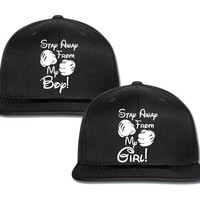 stay away from my girl stay away from my guy boxing gloves couple matching snapback cap
