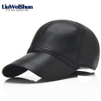Trendy Winter Jacket LiuWeiShun 2018 Spring Sheep Skin Genuine Leather Baseball Cap For Men Quality Adjustable Black Hats Dad's Casual Outdoor Caps AT_92_12