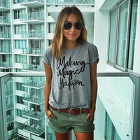 Women Loose Round Necked Short Sleeve Alphabets Words T-Shirt _ 10651