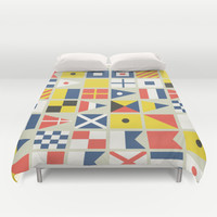 Geometric Nautical flag and pennant Duvet Cover by Budi Satria Kwan
