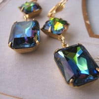 BLUE RAINBOW Earrings with vintage vitrail by shadowjewels