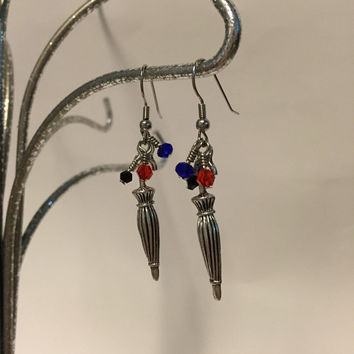 Mary Poppins, Umbrella, With, Blue, Red, And, Black, Crystal Beads, Dangle Earrings, Inspired By Disney