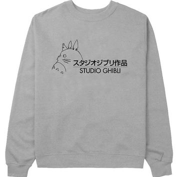 studio ghibli logo sweater Gray Sweatshirt Crewneck Men or Women for Unisex Size with variant colour