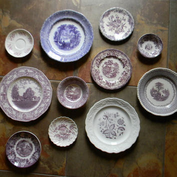 Asymmetrical Wall Arrangement Antique English China Purple Transferware Plates Shabby Chic Style 11 pc Set Mix n Match