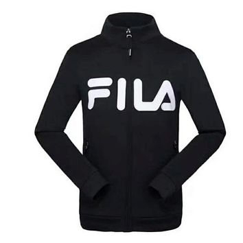 FILA zipper long sleeve Cardigan Jacket Black  I-A001-MYYD