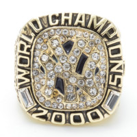 MLB Fashion New Diamond Vintage Men Letter Ring Golden
