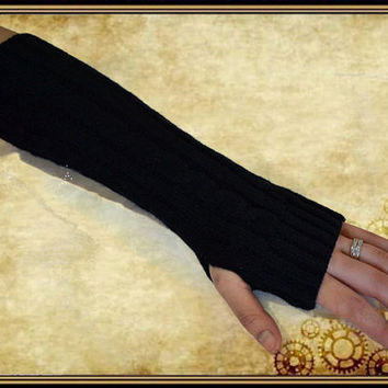 Wool Long crochet knitting wool glove mitten cuff Gothic black fingerless gloves