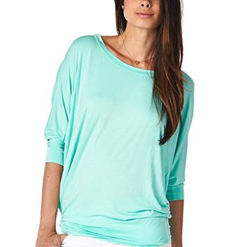 Women's Color Dolman 3/4 Sleeve Pullover Tee Shirt Top Blouse