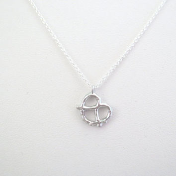 Pretzel, Gold, Silver, Necklace, Modern, Minimal, Dainty, Pretzel, Necklace, Lovers, Friends, Sister, Gift, Jewelry