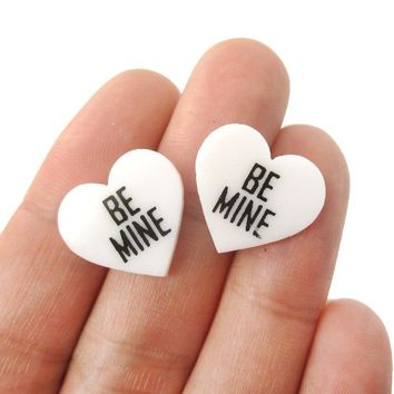 Be Mine Candy Heart Sweethearts Shaped Laser Cut Stud Earrings in White