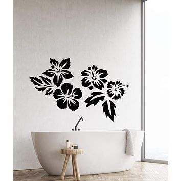 Vinyl Wall Decal Beautiful Exotic Flowers Bud Tropical Beach Style Stickers (2830ig)