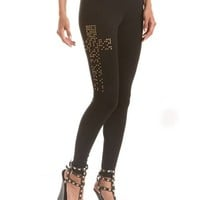 Studded Cross Cotton Legging: Charlotte Russe