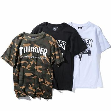 Thrasher Women Men Fashion Pattern Print Tunic Shirt Top Blouse