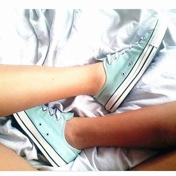LMFUG7 Converse All Star Sneakers canvas shoes for Unisex sports shoes low-top mint green