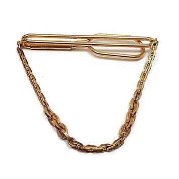 be14e949c326 Vintage Tie Bar, GoldTone with Chain, Cravat Holder, Swank Signed, Tie Clip