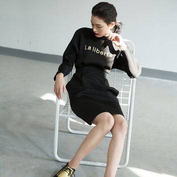 black dress,long sleeve dress,winter dress,casual dress,grunge dress,fashion dress.midi dress.--E0779