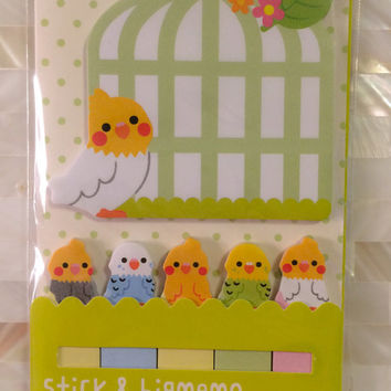 Sticky Post It Memo Note Pad - Parrot bird & cage 120 sheets SS290