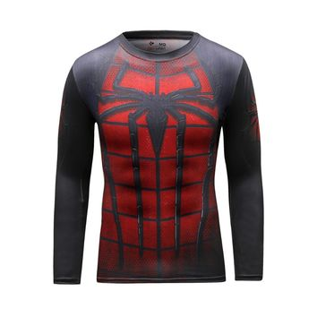 Superhero Spiderman Soldier Marvel Comics Mens Style Long Sleeve T Shirt Compression Tights Tops Fitness Running Sports T-shirt