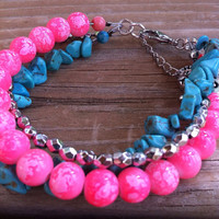 Turquoise Bracelet Turquoise Pink Silver Trendy by YourLuckyPenny
