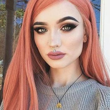Long Shrimp Rose Synthetic Lace Front Wig