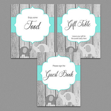 Elephant Baby Shower Table Signs Decorations Welcome Sign Favors Drinks Food Thank You Guest Book Gift Table Printable Instant Download (01w