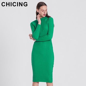 CHICING Women Fashion Knitted Solid Dresses Series 2018 High Street Bling Crew Neck Long Sleeve Bodycon Sexy Midi Dress A1709028