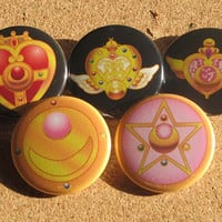 Sailor Guardian of the Moon Transformation brooch pin back buttons Set of 5