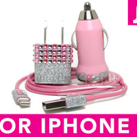 iPhone 5 Charger - Glamour Pink Glitter Bejeweled Bling iPhone 5 Charger