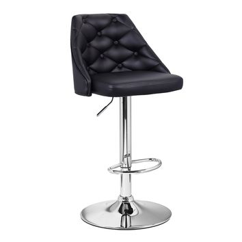 Adeco Black Leatherette Adjustable Barstool Chair with Full Button Tufted Back Chrome Finish Pedestal Base