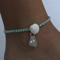 Aqua shell anklet with Sea Glass
