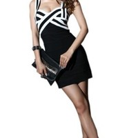 Krazy Sexy Club Cocktail Party Evening Dress #310 Black & White S M L