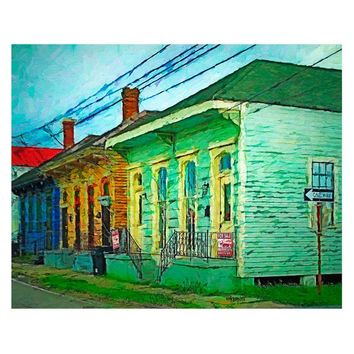 New Orleans Art, Bywater House Art, Colorful Houses, New Orleans House, Funky Houses Print, French Quarter, NOLA Art, KORPITA
