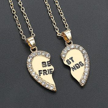 2pcs Love Pendant  Alloy Necklace Fashion Friend Friendship Jewelry for Men Women Unique Personalized Gifts