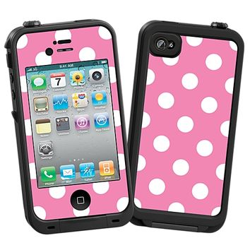 White Polka Dot on Bubblegum Skin  for the iPhone 4/4S Lifeproof Case by skinzy.com