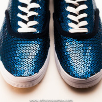 Seasonal CVO Navy Blue Sequin Sneakers Tennis Shoes