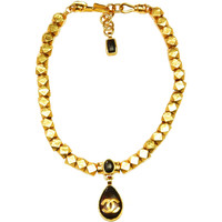 CHANEL Gold Cube Necklace W. Brown Logo Teardrop Pendant 1997