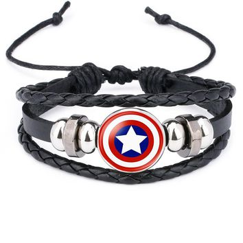 NingXiang America Super Hero Superheroes Batman Spider-Man Iron Man Superman Logo Leather Bracelet Boys Glass Cabochon Bracelet