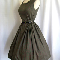 SALE - Vintage 1950s Dress Rockabilly Cotton Day Dress w/ Full Skirt Size Medium