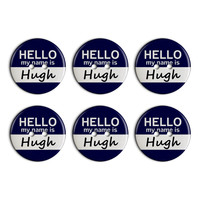 Hugh Hello My Name Is Plastic Resin Button Set of 6