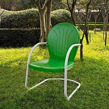 Patio Metal Chair GREEN Retro Outdoor Porch Seat Deck Backyard Dining Vintage