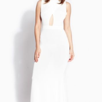 White Mock Neck Mermaid Maxi Dress @ Cicihot sexy dresses,sexy dress,prom dress,summer dress,spring dress,prom gowns,teens dresses,sexy party wear,ball dresses